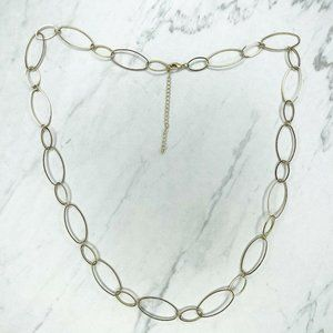 """Gold Tone Open Oval Long Necklace 39"""" Rhinestone"""